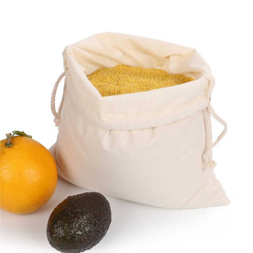 1pcs/pack Reusable Cotton Storage Bag Rice/Bread/Vegetable/Fruit Bags Foldable Shopping Bags Household Kitchen Storage Tools J30