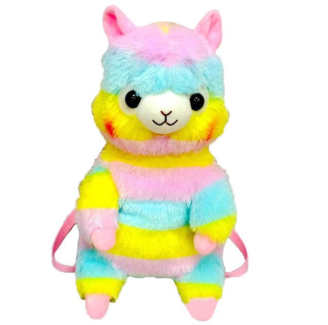 Amuse 45 cm Rainbow Alpaca Ovelhas Mochila De Pelúcia Bolsa Escola Criança Mochila Para O Jardim de Infância Dos Desenhos Animados Suave Boneca Aniversário Da Menina do Menino presente