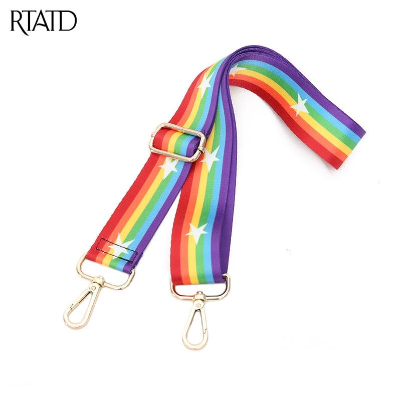 RTATD New Handbags Strap Rainbow Design National Gold Buckle Canvas Bag Straps Trendy Adjust Easy Holding Shoulder Straps C141