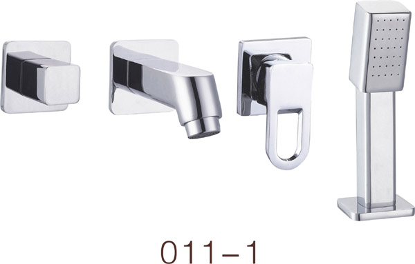 4Pcs in set Bathroom cabinet hot and cold wall pull faucet , concealed split wall 2/3/4 piece set with small shower head