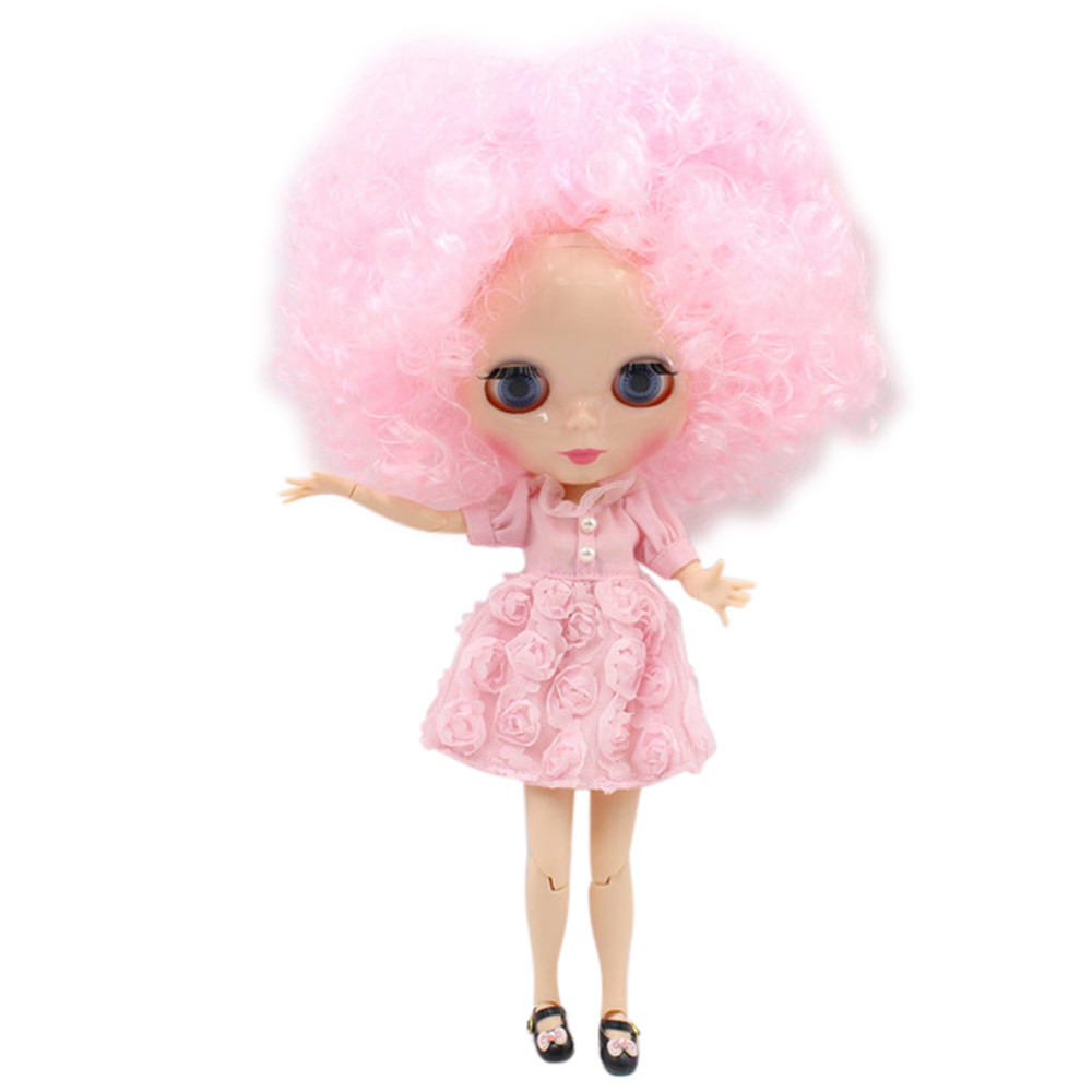 Blyth doll pink little curl hair with big hair JOINT body White skin 1 6 factory