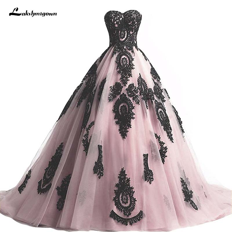 Classic Wedding Gowns 2018: Ball Gown Wedding Dresses Vintage 2018 Pink Black