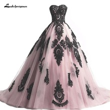 6faf0c5904a Ball Gown Wedding Dresses Vintage Pink Black Sweetheart Muslim Ivory Gold  Lace Appliques Bridal Gowns