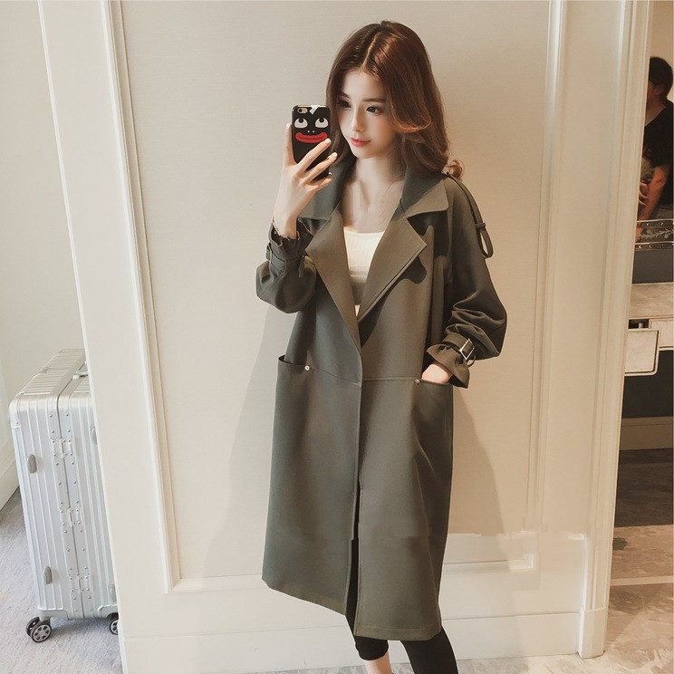 Autumn New Women   Trench   Coat 2018 Medium Long Section Loose   Trench   Casual Black/Green Office Ladies Trenchs