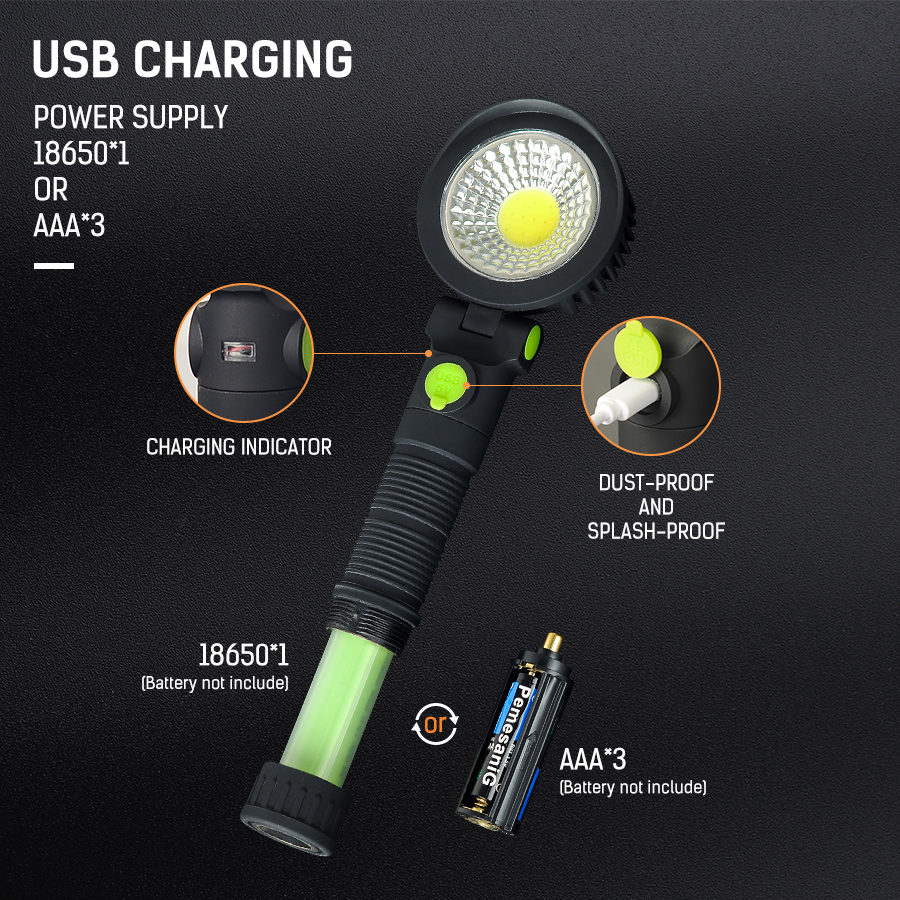 Portable COB Working Lamp DC5V Camping Lantern ABS COB Working Light Emergency Camping Light 18650 1 AAA 3 Battery Not Included in Portable Lanterns from Lights Lighting