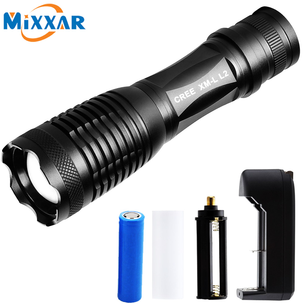 E Ultra-Bright Tactical Flashlight CREE XM-L L2 LED Flashlight Zoomable Water-Resistant Portable 5 Light Modes for Outdoor