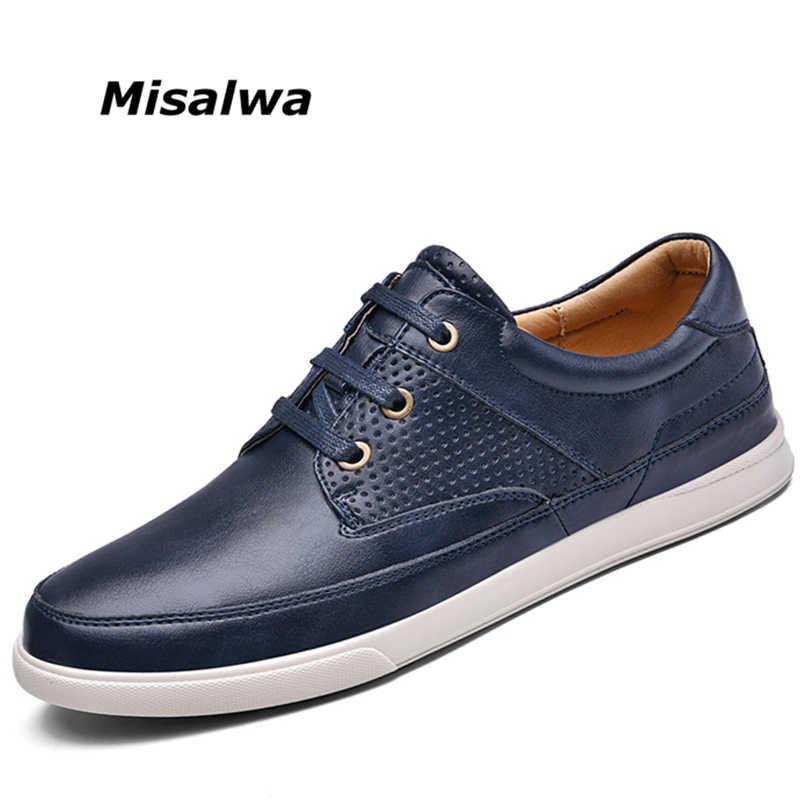 Misalwa Luxe Merk Witte Mannen Schoenen Zwart Blauw Britse Stijl Casual Lederen Schoenen Voor Mannen Lace-up 2019 Nieuwe herfst Schoenen