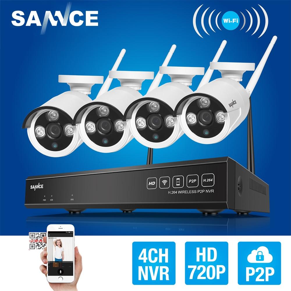 цена на SANNCE 4CH Wireless NVR CCTV System 720P IP Camera WIFI Waterproof IR Night Vison Home Security Camera Surveillance Kit NO HDD