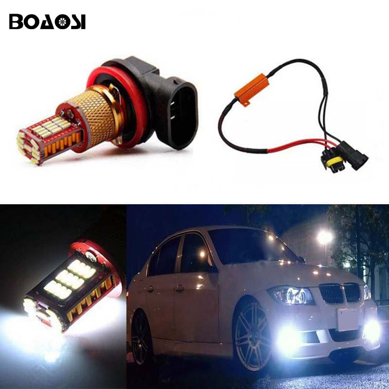 BOAOSI 1x H8 H11 Samsung 4014 LED DRL Fog Light Lamp Bulb + Canbus Decoders Error Free For BMW E71 X6 M E70 X5 E83 F25 x3 h11 h8 led projector fog light drl no error for bmw e71 x6 m e70 x5 e83 f25 x3 2004 for e53 x5 2003 2006 e90 325 328 335i
