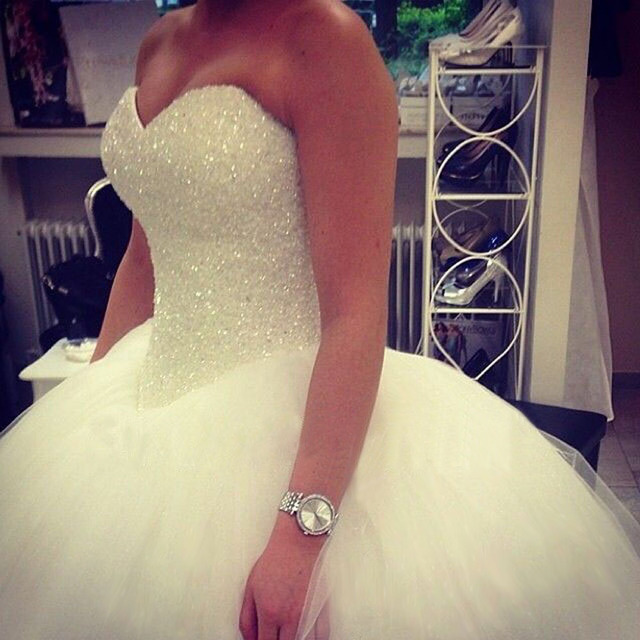 Strapless Tulle Sweetheart Court Train Princess Ball Gown