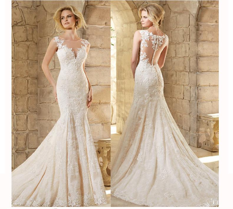 2019 O-neck Wedding Dress Elegant Button Back Vestido De Noiva Backless Trumpet Chapel Train Robe De Soiree Custom Made Dress