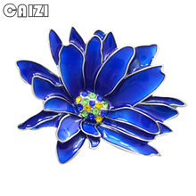 CAIZI 2019 New Rhinestone Flower Brooch Pin for Women Blue Crystal Chrysanthemum Brooch Wedding Jewelry Clothes Accessories