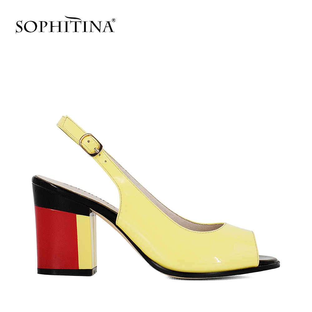 SOPHITINA Handmade Patent Leather Sandals Sexy Lady Peep Toe Square Colorful heel Buckle Strap Sandals Classic