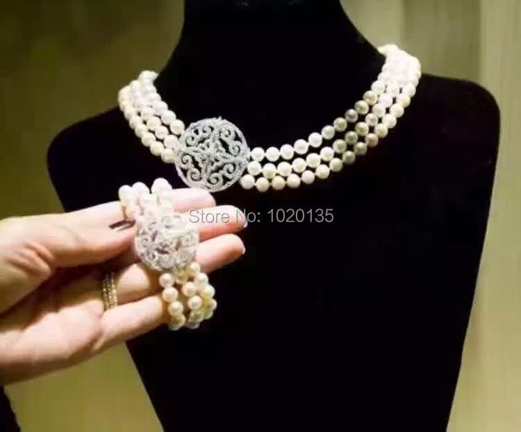 Здесь продается  3rows wow! freshwater pearl  white near round 7-8mm necklace bracelect 8inch wholesale nature beads unique   Ювелирные изделия и часы