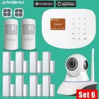 433 мГц WI FI GSM сигнализация Системы S Беспроводной двери/окно Сенсор дом Охранной Сигнализации Системы с PIR детектор движения + 720 P Мини камеры