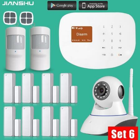 WIFI GSM Alarm Systems  433MHz Wireless Door/Window Sensor House Security Alarm System with PIR motion detector+720P mini camera