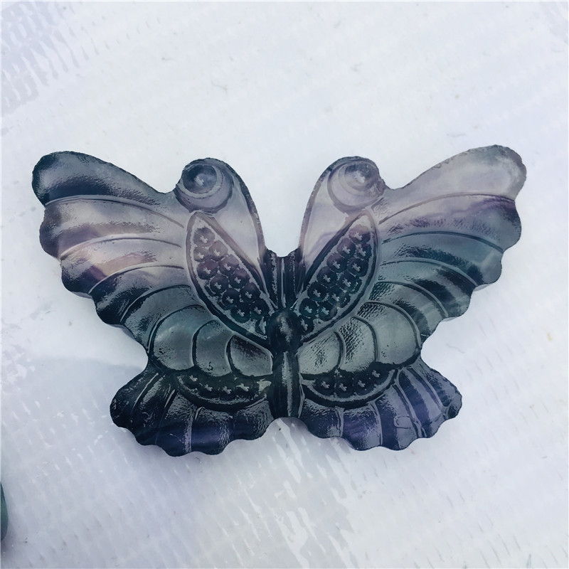Natural crystal quartz fluorite butterfly ornamental animal in Stones from Home Garden