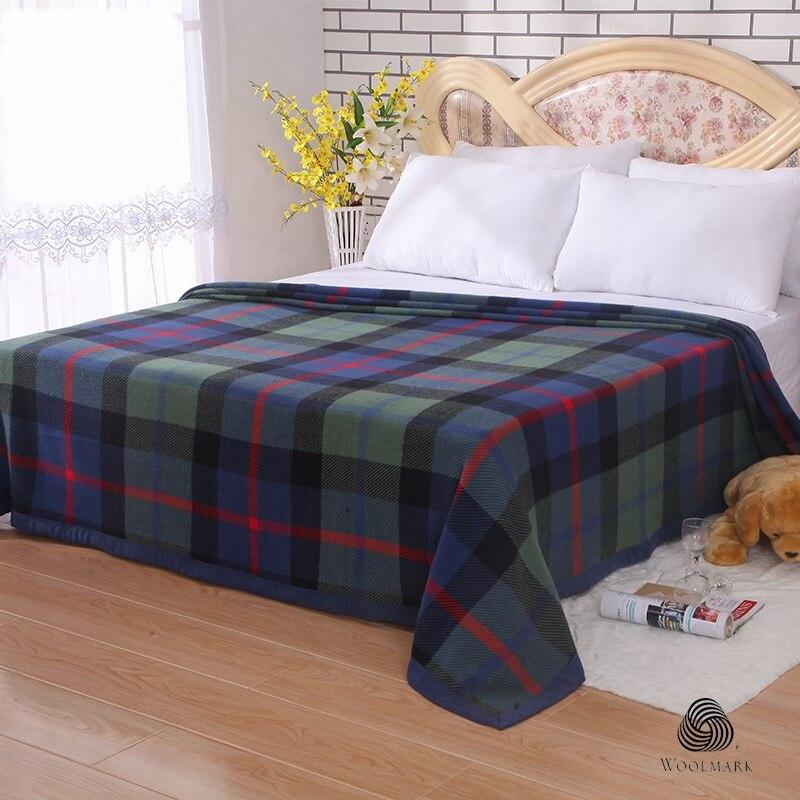 Australian Merino Wool Blanket Plaid Throw Blankets 200cmx240cm Bedding Reversible Blanket For Bed And Couch-1.9kg