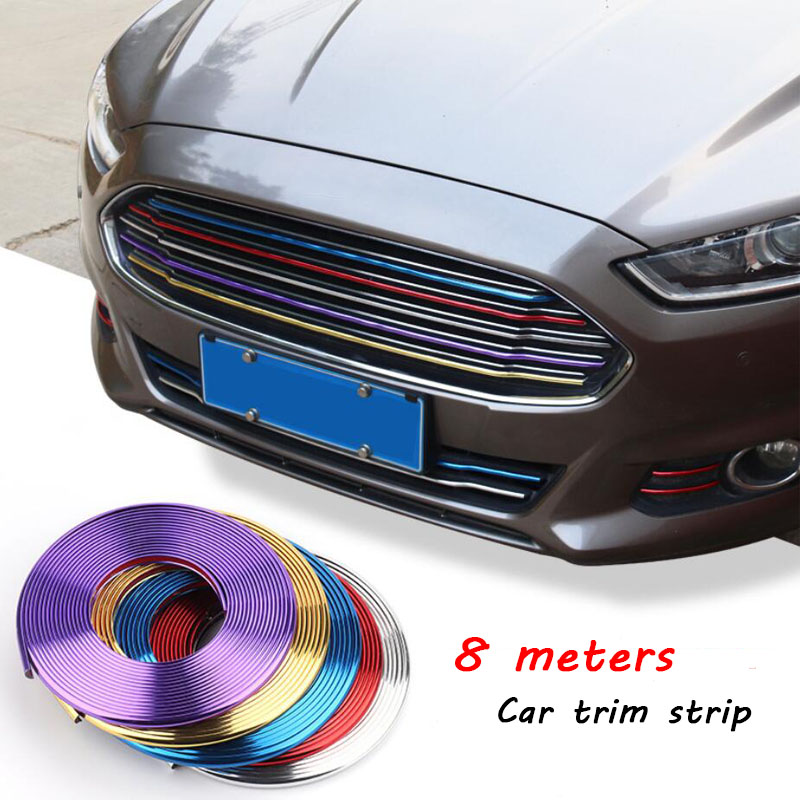 8M Auto Car Sticker Decorative Strip Motorcycle Wheel Hub Tire Grid Body/Rim Door Protector Covers Styling