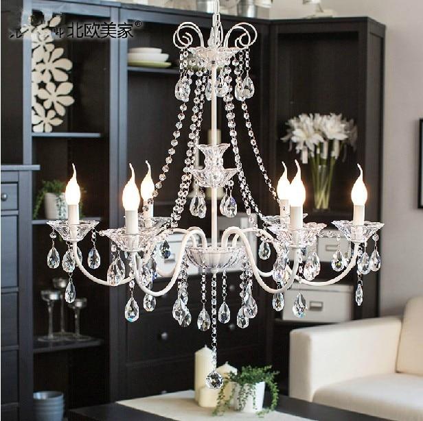 6 Licht E14 Moderne Milch Weisse Kristall Kronleuchter Lampe TOP K9 Fitting Beleuchtung Fr