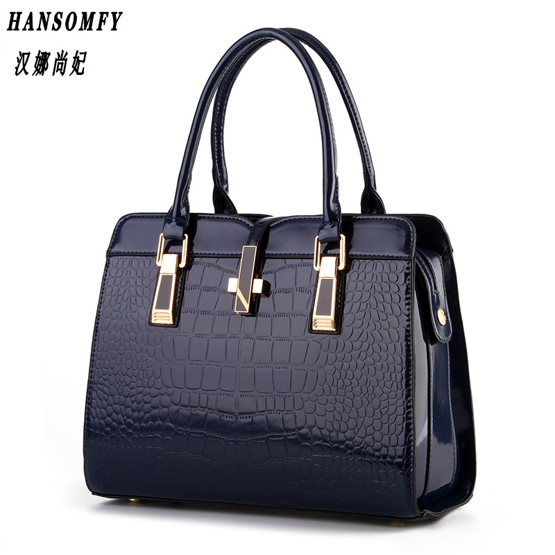 100% Genuine leather Women handbag 2018 New bright patent leather crocodile pattern fashion shoulder shoulder ladies bags