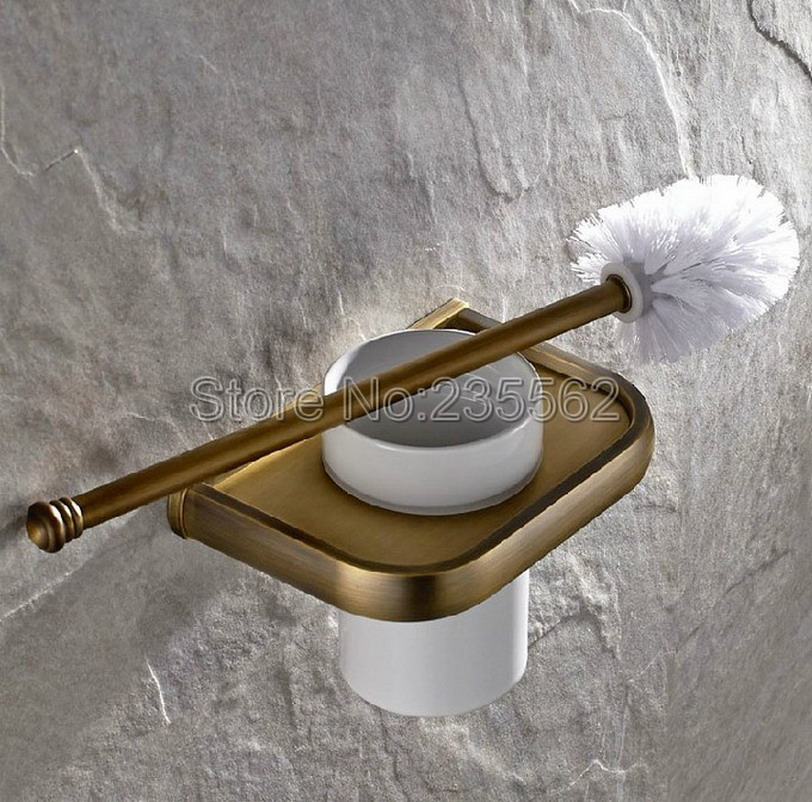 NEW Antique Wall Mounted Bathroom Toilet Brush Holder Brass Finish with Ceramic Cup Set lba176 free postage gold plate toilet brush holder with ceramic cup wall mounted flower carved