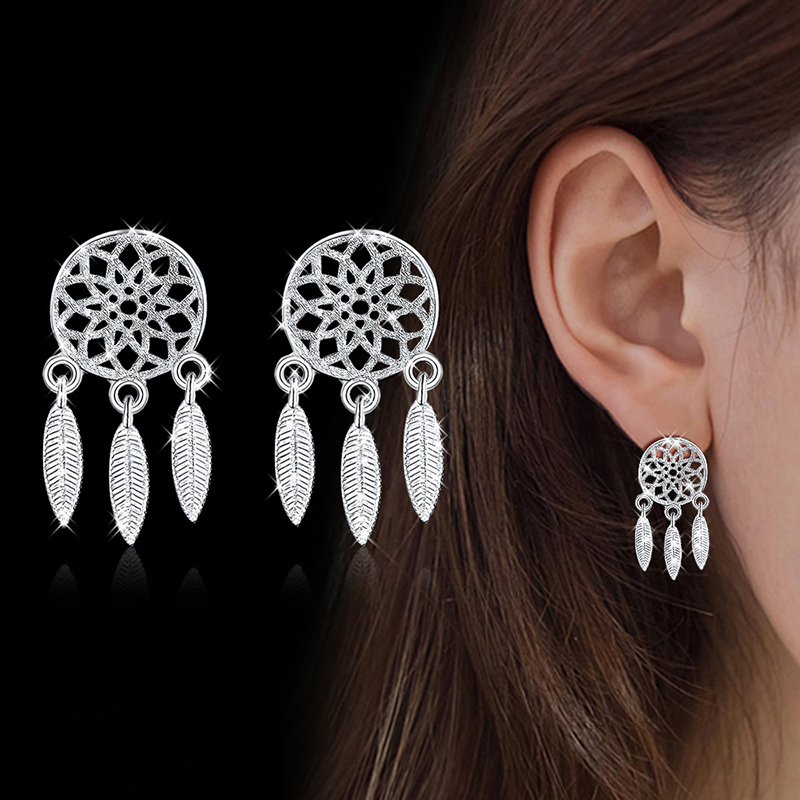 XIYANIKE 925 Sterling Silver 2019 2pcs/Set Korean Style Feather Dreamcatcher Jewelry Sets Pendant Necklace For Women Gift NE+EA