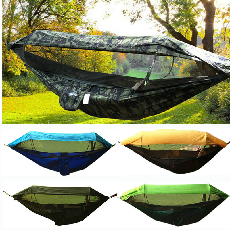 Big Size Portable Outdoor Camping Hammock With Awning Mosquito Net High Strength Parachute Fabric Hanging Bed Hunting Swing