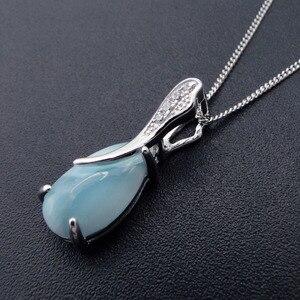 Image 2 - Larimar tự nhiên 100% 925 Sterling Silver Mặt Dây Chuyền Bạc Water Drop Shape Chính Hãng Dây Chuyền Đá Quyến Rũ cho Phụ Nữ Món Quà mà không cần Dây Chuyền