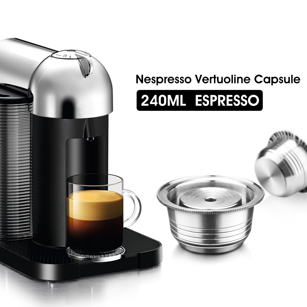 Refillable Coffee Capsule Pod For Nespresso Vertuo Vertuoline GCA1 & Delonghi ENV135 Stainless Steel Filters Tamper Spoon