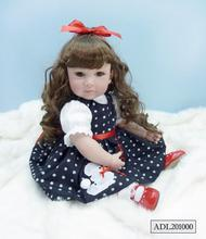 20 inch 50cm Silicone baby reborn dolls Children's toys the little black dots hair girl