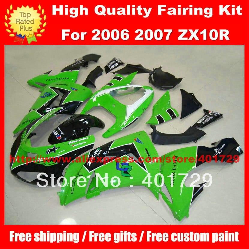 Racing motorcycle fairing for Ninja ZX10R 06 07 ZX 10R 06 07 ZX10 2006 2007 free custom paint motorcycle bodywork
