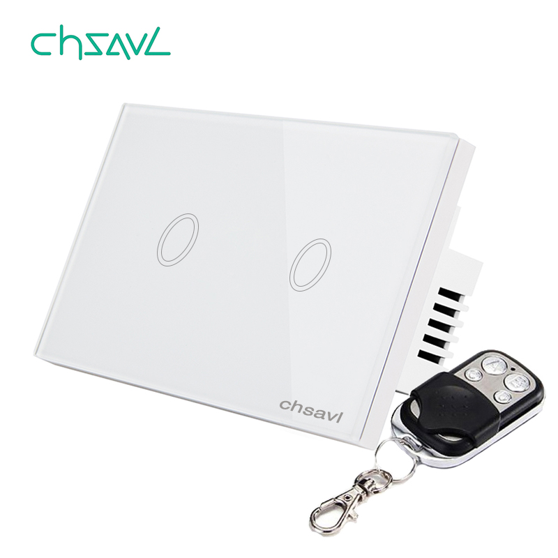 Chsavl Wall Touch Switch 2 Gang 1 Way Us Standard Switch  Ac 110 240v Light Screen Touch Switch