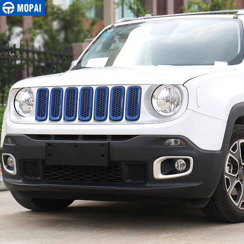 Image 4 - MOPAI ABS Car Exterior Front Insert Grille Cover Decoration With Net Stickers For Jeep Renegade 2015 2017 Car Styling-in Styling Mouldings from Automobiles & Motorcycles