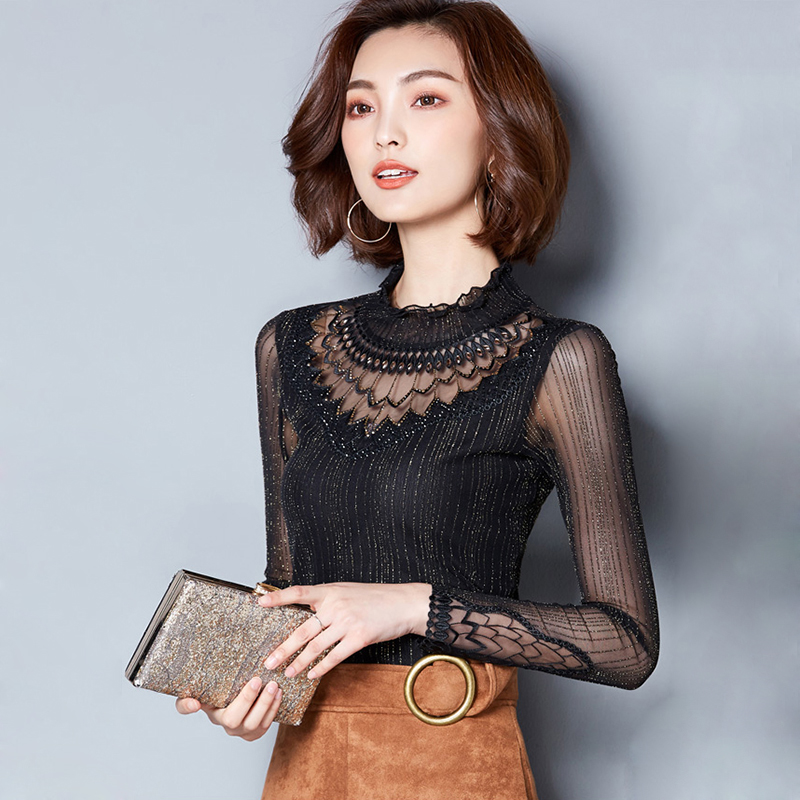 Lace Mock Neck Lettuce Hem Glitter Mesh Blouse Sexy Womens Long Sleeve Tops  2018 New Black High Neck Elegant Slim Blouse-in Blouses   Shirts from  Women s ... 9e9197dab5e9