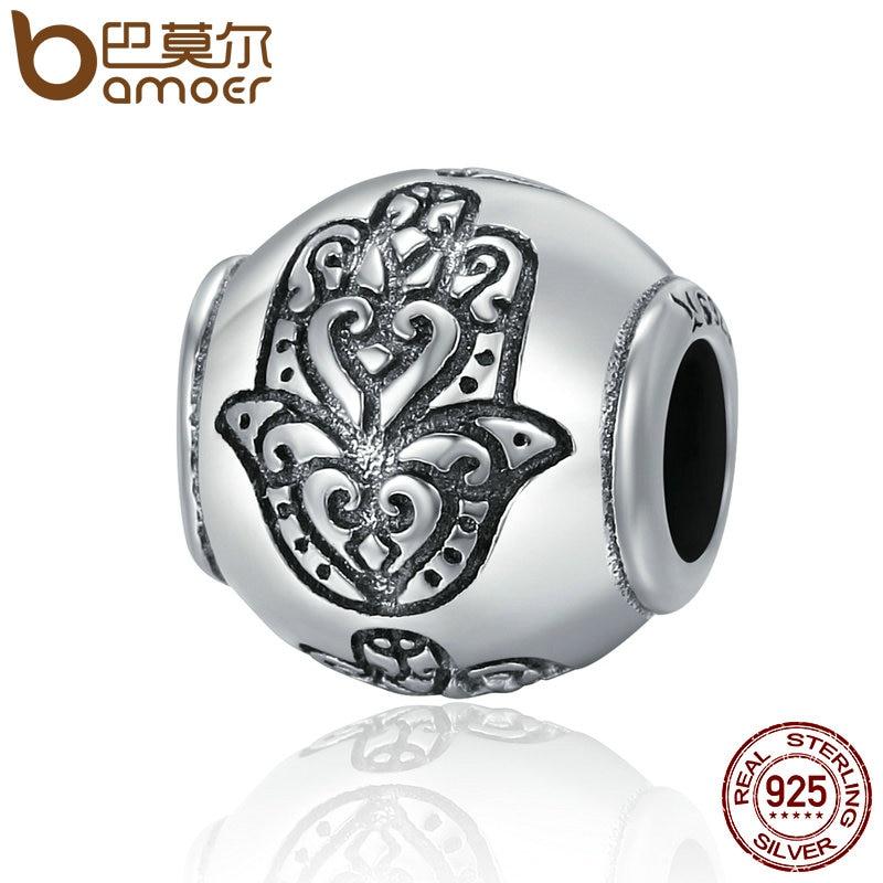 BAMOER Venta caliente 100% plata esterlina 925 Fatima mano fe Power Beads fit encanto Original pulseras mujeres DIY joyería SCC306