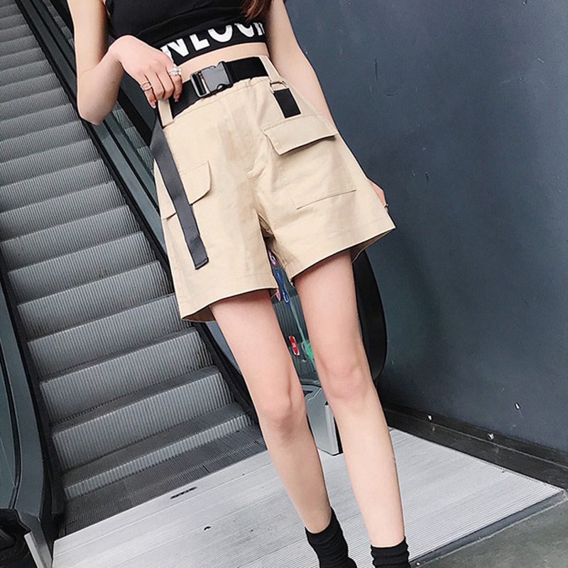 Summer cotton high waist shorts for women fashion belt shorts vintage sexy cargo shorts biker pocket shorts 2019 Korean version(China)