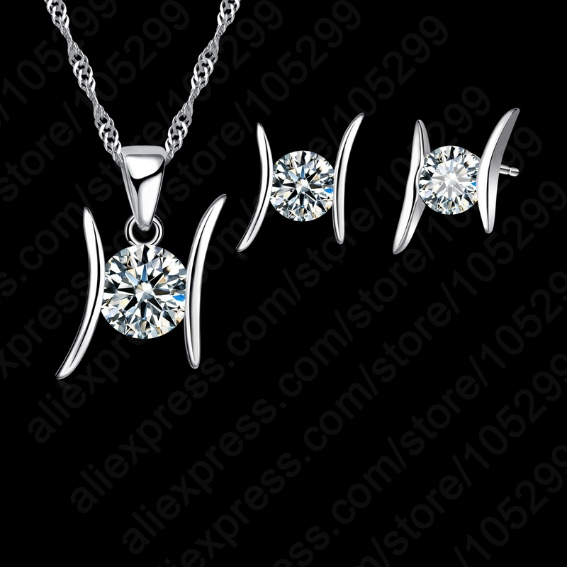 JEXXI Fashion Shiny Jewelry CZ Set S90 Silver Pendant Necklace&Stud Earrings Sets for women with free shipping