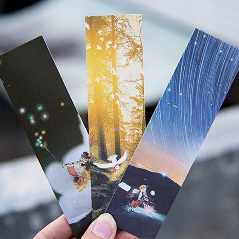 30pcs/box forest ligft Cartoon illustration paper bookmarks book holder message card kids stationery school supplie