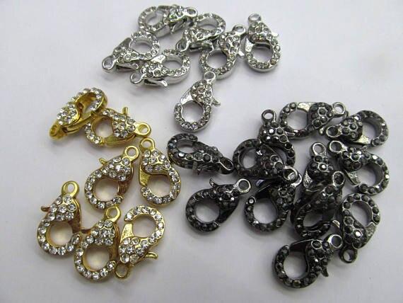 Gros 50 pcs fermoir pavé Micro cristal pavé diamant fermoirs bijoux fermoir Gunmetal argent Rose or hématite bijoux fermoirs 12- - 3