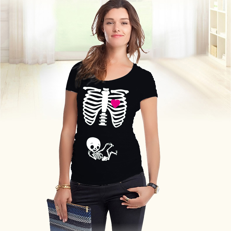 2018 New Design Xray Skeleton Print short-sleeve Maternity Shirt Printed maternity European size plus size XXL Free shipping