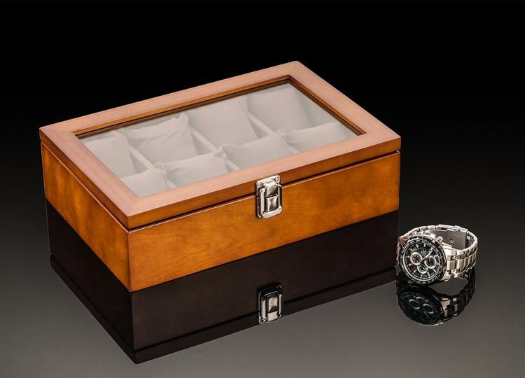 8 Slots Holz Uhrenbox New Coffee Herren Mechanische Uhr - Uhrenzubehör - Foto 2