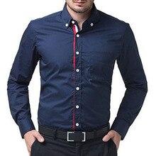 Бренд Мода 2017 г. мужские рубашки с длинными рукавами Топы корректирующие одноцветное Цвет в сдержанном стиле мужская одежда Рубашки для мальчиков тонкий Для мужчин рубашка 3XL 9233