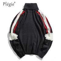 Plegie Color Block Patchwork Turtleneck Knitted Sweaters Harajuku Casual Pullover Sweater 2018 Autumn Fashion Hip Hop Knitwear