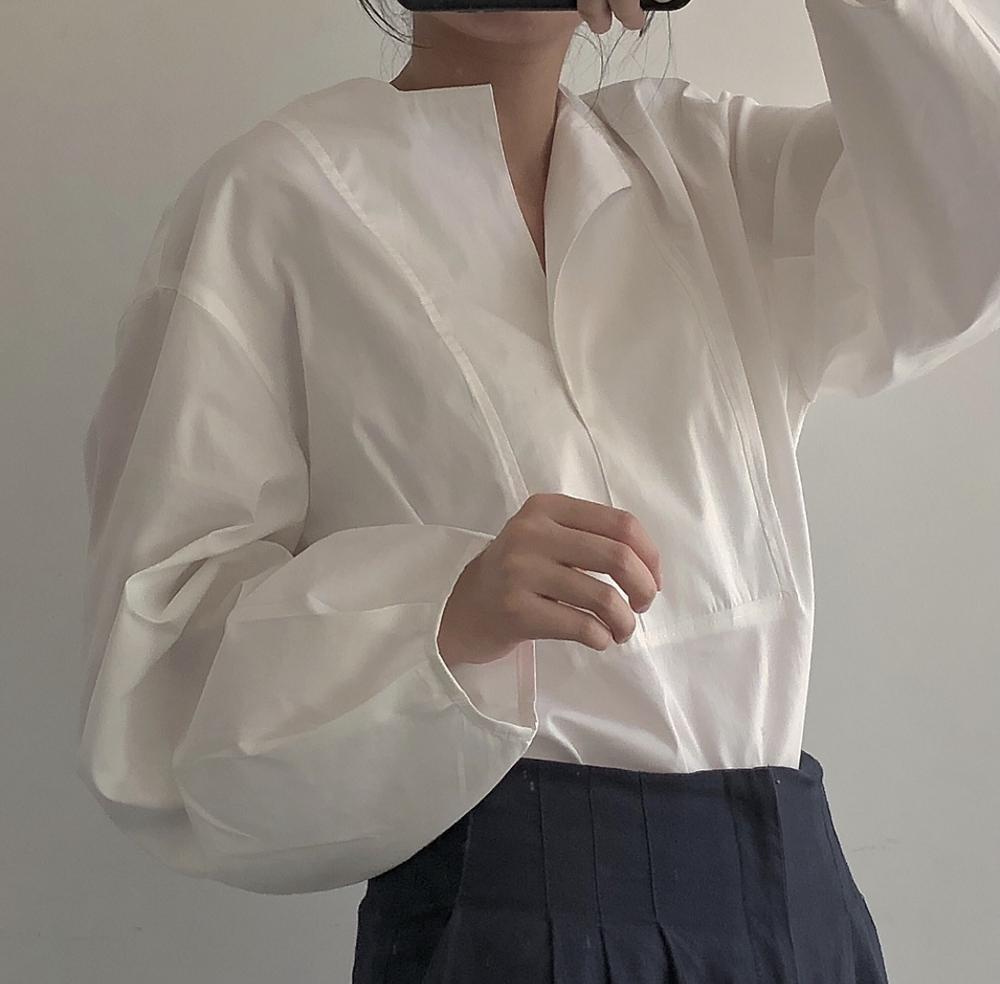 2019 printemps Style coréen Vintage à manches longues femme chemises pull lâche chemise courte femme blanc Blouse Blusas Mujer De Moda