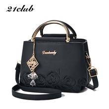 21club Brand Embroidery Handbag Top Handle Totes Women Floral Black Small Fashion Purse Lady Party Messenger Crossbody Handbags