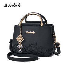 21club Brand Embroidery Handbag Top Handle Totes Women Flora