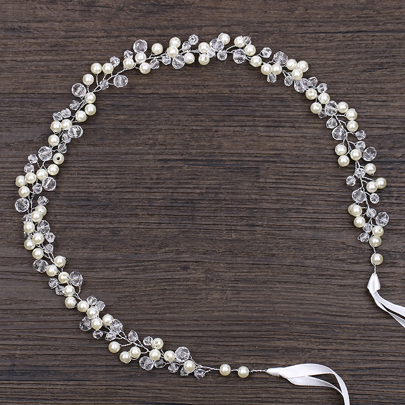 Handmade Elegant Simple Pearl Wedding Headbands Ribbon Beaded Women Hair Band Bridal Hairpiece For Bride Hair Accessories