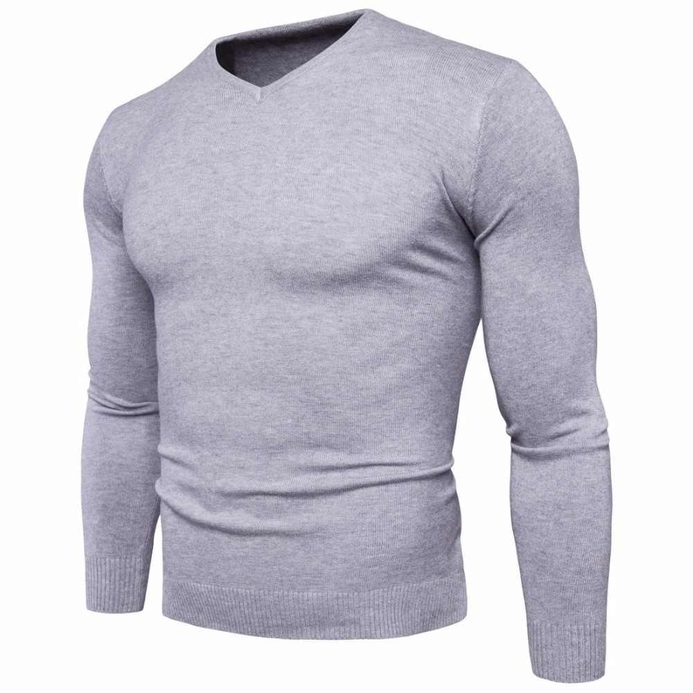 a107fa253c2d3df 2018 осень зима мужской v-образный вырез свитер мода Slim Fit сплошной цвет  трикотажные с