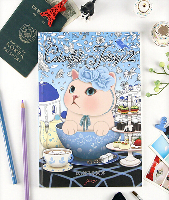 Korean Jetoy Cute Choo Cat Coloring Book GALLERY BY YOURSELF Floral Cover 2016 40 Pages